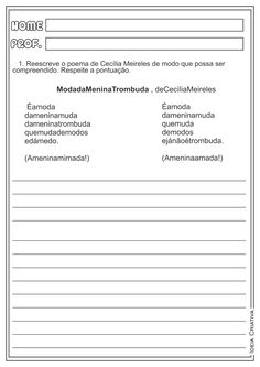 Texto Aglutinado Cecília Meireles Poemas Atividades Ensino Fundamental
