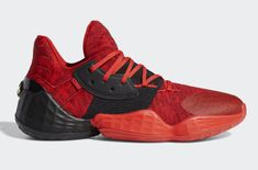 Release Date: adidas Harden Vol. 4 Power Red - Dr Wong - Emporium of Tings. Amazon Adidas, James Harden Shoes, All Black Sneakers, High Top Sneakers, Red Basketball Shoes, Adidas Sneakers, Shoes Sneakers, Flat Feet, Nike Air Shoes