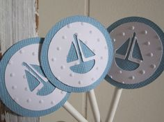 Ocean Blue and White Sail Boat Nautical by milkdustcreations