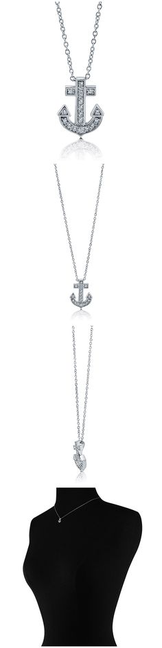 Sterling Silver CZ Anchor Fashion Necklace