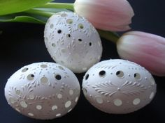 Easter Eggs, Set of 3 Traditional Slavic Carved and Wax-Embossed Chicken Eggs,  Pysanky Eggs, Kraslice in White, Madeira Eggs