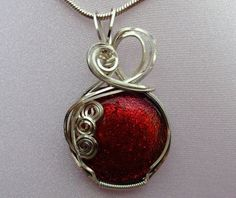 Dichroic Glass Pendant Wirewrapped in Sterling Wire by blazinbeads,