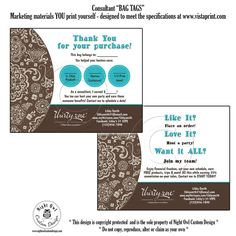 Thirty One Gifts Consultant or Director postcard - customer BAG TAGS