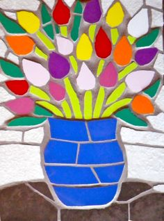 Vase of multi-coloured tulips mosaic