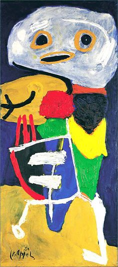Karel Appel was a Dutch painter, sculptor, & poet who was 1 of the founders of Cobra. The new art of the CoBrA-group was not popular in the Netherlands, but it found a warm welcome in Denmark. In Denmark CoBrA artists started cooperating by collectively painting the insides of houses, which encouraged and intensified the exchange of the typical 'childish' and spontaneous picture language used by the CoBrA group.