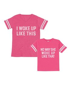 Look at this Vintage Hot Pink 'Like This' & 'No Way' Football Tee Set - Toddler, Kids & Women on #zulily today!