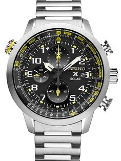 With all the style and functionality you need, this men's Seiko chronograph watch is a must-have addition to your look.With all the style and functionality you need, this men's Seiko chronograph watch is a must-have addition to your timepiece collection. Best Watches For Men, Fine Watches, Cool Watches, Amazing Watches, Seiko Solar, Brown Leather Watch, Mens Watches Leather, Bracelet Cuir, Seiko Watches