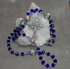 Rosary Silver Cobalt Blue Crystal Lampwork by HeartFeltRosaries
