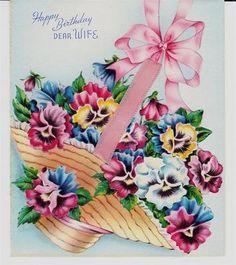 Vintage Colorful Pansies in Basket Wife Birthday Greeting Card | eBay