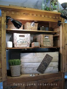 Like the look. . . need to start watching for a couple vintage crates  . . . cute storage idea.