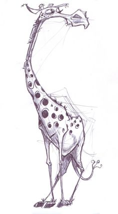 Unknown. The loose sketching used gives this drawing such a depth of character, and I enjoy the cartoon styled rendering of this giraffe. In particular, I'm impressed by the artists bravery in giving the animal such small, stylized legs, but they flow beautifully with the rest of the image.