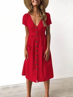 6 Colors V-neck Button Pocket Patched Short Sleeves Midi Dress Pattern Solid Color Occasion Casual/D Casual Summer Dresses, Trendy Dresses, Nice Dresses, Summer Outfits, Cute Outfits, Red Dress Casual, Beach Dresses, Dress Summer, Summer Ootd