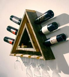 Triangular Wood Wine Rack.