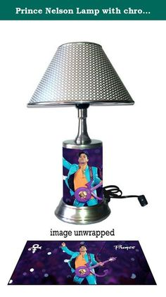 """Prince Nelson Lamp with chrome shade, Prince's signature song Purple Rain. The lamp base is wrapped with a metal plate. Some people want to see the whole image of the base. That is the reason that the """"Image Unwrapped"""" is depicted on the main product image. That doesn't mean that you will get another metal plate separately.--------------- This desk lamp measures approximately 16 in. H x 10 in. W. Made of sturdy metal. Uses a standard light bulb - A15 bulb type from GE, which is 3 inches..."""