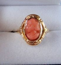 Carved Coral Cameo Ring 10kt Gold Neoclassical from Faraway Antique Shop Exclusively on Ruby Lane