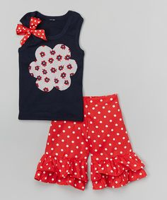 Look what I found on #zulily! Navy Floral Tank & Red Ruffle Shorts - Infant, Toddler & Girls by Beary Basics #zulilyfinds