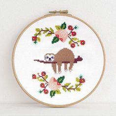 Lazy Day sloth cross stitch pattern by Dear Sukie
