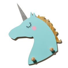 Create a magical bedroom for your little one with this bright blue unicorn wall hook, featuring a sparkly horn covered in silver glitter. A great way to hang bags, jackets and other bits and pieces to keep them off the floor, and the room neat and tidy.