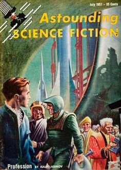 1957 Cover Astounding Science Fiction Art Frank Kelly Freas Isaac Asimov Rocket
