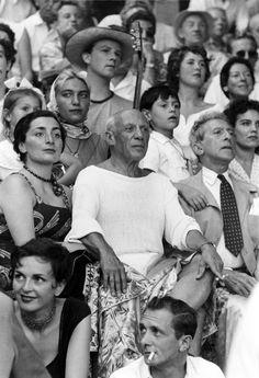 1955. Jacqueline Roque, Pablo Picasso, and Jean Cocteau.