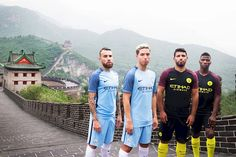 GREAT: Great men on The Great Wall, Manchester City on tour in the new 2016/17 home and away kit