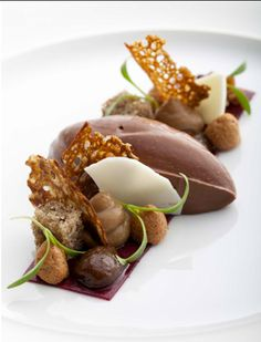 Banana sponge, chocolate ice cream and chestnut cream