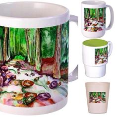 Based on my own watercolor. All products and order http://ift.tt/20Fz7il  #creek #foreststream #drinks #mugs #shotglass #nature #homedesign by lidiaessen http://discoverdmci.com