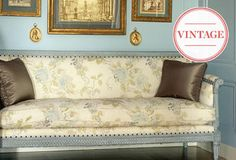 Vintage Picks with Parisian Panache at One Kings Lane Soft Colors, Colours, Entryway Furniture, Sofa, Couch, Daybed, Beautiful Patterns, Parisian, French Country