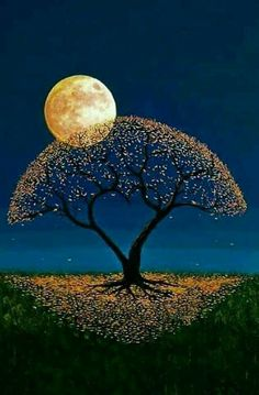 Such a unique pretty tree and moon painting Moon Pictures, Nature Pictures, Beautiful Pictures, Beautiful Artwork, Shoot The Moon, Moon Painting, Good Night Moon, Beautiful Moon, Good Night Beautiful