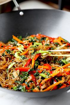 A savory, sweet and nutty Japchae Recipe that marries chewy Korean glass noodles with stir-fried veggies. Ready in 16 minutes from start to finish! 雜菜) - Korean Glass Noodles - Pickled Plum Food And Drinks Vegetarian Recipes, Cooking Recipes, Healthy Recipes, Vegetarian Korean Food, Japchae Recipe Korean, Korean Glass Noodles, Veggie Fries, Korean Dishes, Sushi Recipes