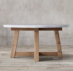 Salvaged Wood & Marble Beam Round Dining Table - DWR   $3695 - $4595REGULAR  $2771 - $3446 MEMBER