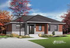 DrummondHousePlan W3131-V2, 'Erindale 3' features sleek lines, modern windows and contemporary exterior finishes. An elegant façade and easy living on one level!