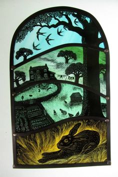 """""""Washing Line"""" by stained glass artist Tamsin Abbott Stained Glass Paint, Stained Glass Designs, Stained Glass Projects, Stained Glass Windows, Leaded Glass, Fused Glass, Glass Engraving, Rabbit Art, Bunny Art"""