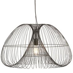 Cosmo pendant - cage pendant light in black wire, shape of inside cage echoes the conical shape of Tom Dixon lights you're using + colour ties in. could use in a pair over a longer table   $299 from Crate and Barrel