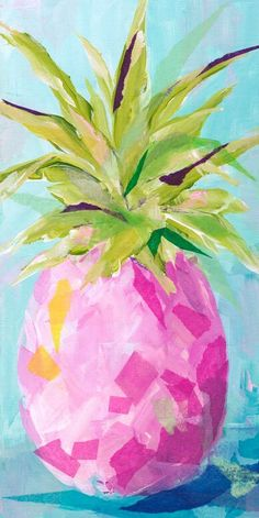 Bay Isle Home 'Pink Pineapple' Acrylic Painting Print Summer Painting, Fruit Painting, Painting Prints, Art Print, Pineapple Painting, Pineapple Art, Lily Pulitzer Painting, Lilly Pulitzer Prints, Doodle Drawing