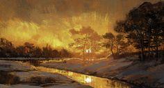 sunset on the lake, jason scheier on ArtStation at https://www.artstation.com/artwork/3BzbJ
