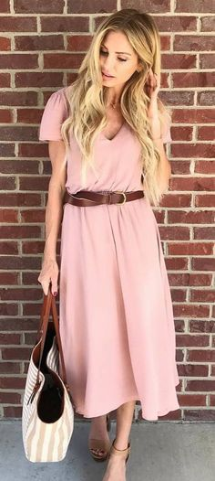 romantic spring outfit pink midi dress bag brown belt
