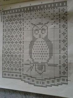 Owl Patterns, Heart Patterns, Crochet Curtains, Birds 2, Filet Crochet, Crochet Crafts, Rustic, Blanket, Afghans