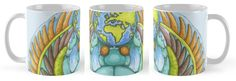 Earth Creation Beetle on Mug by Imogen Smid.  Original illustration done in Indian Ink and Ecoline.  Available at Redbubble - Ancient Egypt, Environment, Khepri, Kheper,Dung Beetle, Art, Green, Blue, Home Decor