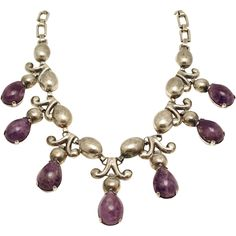 Monumental 1930's Fred Davis Amethyst Repousse Silver Taxco Mexican from littlemexicansilvershop on Ruby Lane