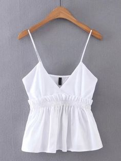 Simple Cheap Chic, Shop V-Cut Frill Trim Cami Top online. Cute Summer Outfits, Casual Outfits, Cute Outfits, Girl Fashion, Fashion Outfits, Blouse Styles, Cami Tops, Blouses For Women, Vogue