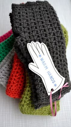 Crocheted Hand Warmers - free pattern.