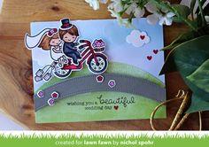 Nichol Spohr LLC: Lawn Fawn March Inspiration Week | Bicycle Built For You Wedding Slider Card