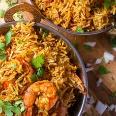 Prawn Biryani in Rice Cooker - WhitBit's Indian Kitchen Looking for a no-fuss almost one-pot meal? This shrimp biryani is started in the stove but finished in a rice cooker. Perfect rice and flavors each time! Prawn Dishes, Curry Dishes, Rice Dishes, Seafood Dishes, Seafood Recipes, Indian Food Recipes, Healthy Recipes, Couscous Dishes, Goan Recipes