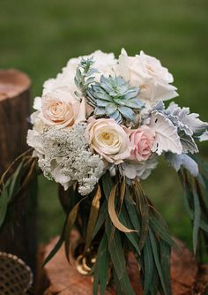 Succulent and rose florals | photo by Love Is A Big Deal  | 100 Layer Cake