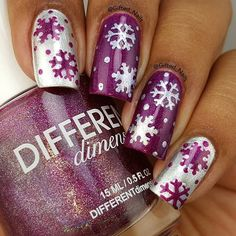 Fabulous Purple Snowflakes❄️ by @Gifted_Nails!  Check out her awesome tutorial to learn a new way to apply stencils!✨ - Snowflake #NailVinyls snailvinyls
