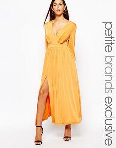 85c2d3c2af1 Lipstick Boutique Petite 70 S Plunge Neck Maxi Dress With Double Splits  Maxi Robes