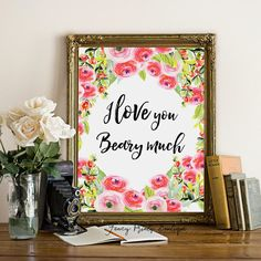 Printable Wall art I love you beary much by FancyPrintsBoutique