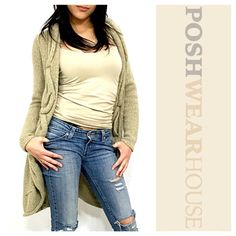 Khaki Knit Swing Front Cardigan Like what you see? Follow me!  On PM @PoshWearHouse  On IG www.instagram.com/PoshWearHouse  On FB www.facebook.com/PoshWearhouse Sweaters Cardigans