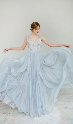 dusty blue wedding gown and dress
